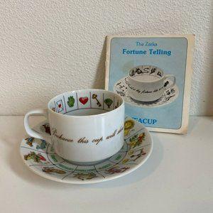 Vtg 70s Zarka Fortune Telling Tea Cup & Saucer Mug